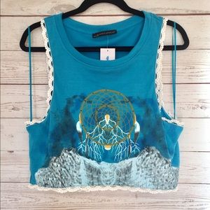 dream catcher crop top with lace detail