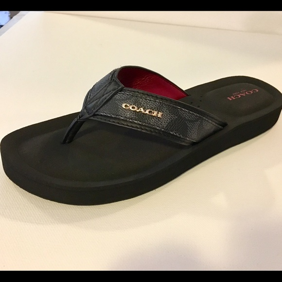 ffa1e0d10878 COACH Judy Black Flip Flop Thong Sandals☀ 🌴👙🐠🦀