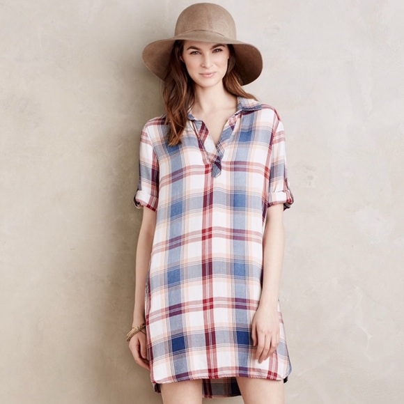 210a70ded4d Anthropologie Cloth   Stone Plaid Shirt Dress