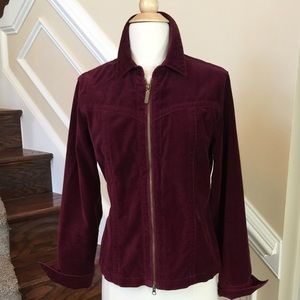 CAbi Jackets & Blazers - Wine Cotton Velvet Zipper Jacket by CAbi