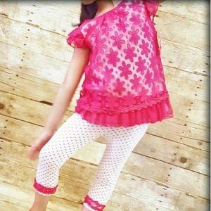 Little Lass Other - New LITTLE LASS 4 Capri Outfit Pink Top Pants Lace