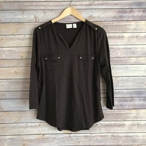 Chico's Tops - Chicos brown round hem blouse