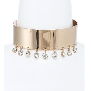 Crystal lined thick gold choker