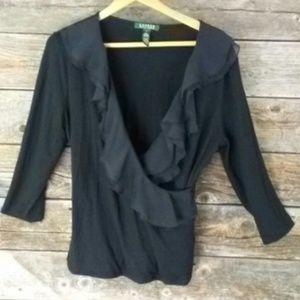 Lauren Ralph Lauren Tops - Lauren Ralph Lauren 3/4 sleeve ruffle shirt.