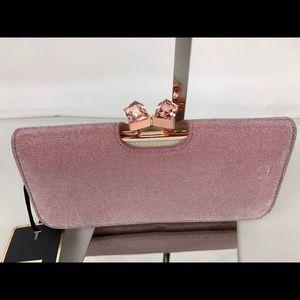 Ted Baker Handbags - Ted Baker Dusky Pink Melek Metallic Crystal Clutch
