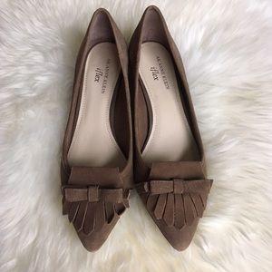 Anne Klein Shoes - Anne Klein iFlex Tan Suede Loafer Kitten Heels