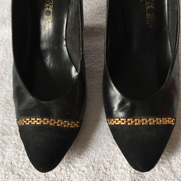 Vintage Shoes - Vintage Black Kitten Heels with Gold Chain Detail