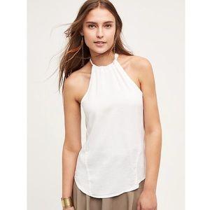 Anthropologie Cloth & Stone Kalla White Halter Top