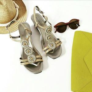 Bandolino Shoes - NIB Bronze Embellished Strappy Wedge Sandal