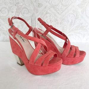 Miu Miu Shoes - Miu Miu funky suede & mirror wedge heel sandals