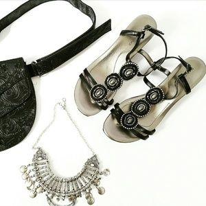 Bandolino Shoes - NIB Black Silver Strappy Wedge Sandal