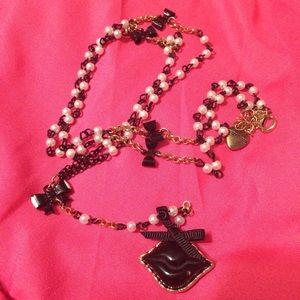 Betsey Johnson Jewelry - Betsey Johnson Black Lips Bow & Pearls Necklace