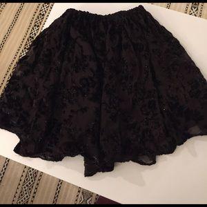 Metallic Velvet floral vintage flounce skirt