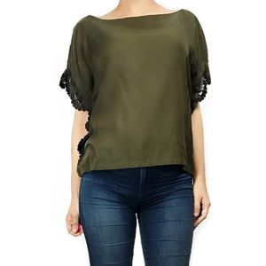 Anthropologie Tops - Anthropologie green lace detail top