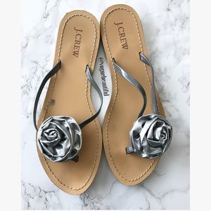 J. Crew Shoes - J.Crew Metallic Silver Rose Sandals