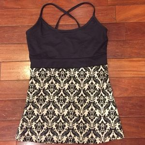 Soybu Tops - Unique Damask pattern athletic crossback tank