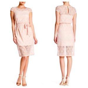 Jessica Simpson Lace Belted Midi Dress