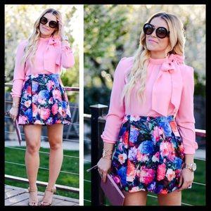 express // floral high waisted skater mini skirt