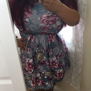 Grey Floral skater dress with Empire waist