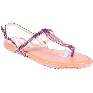 Victoria K Shoes - Women Red Slingback Thong Flat Sandals S1941