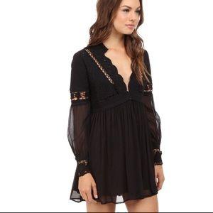 Free People Dreamland Crochet babydoll dress black