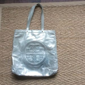 AUTHENTIC ALL LEATHER LARGE LOGO TORY BURCH BAG