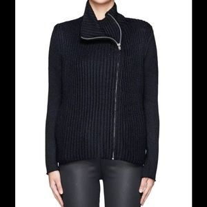 Helmut Lang Sweaters - Helmut Lang Ribbed Asymmetrical Zipper Cardigan