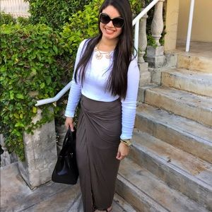 Dresses & Skirts - Olive asymmetrical maxi skirt