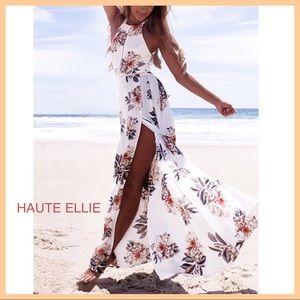 Haute Ellie Dresses & Skirts - DAYA Floral Print Halter Maxi Split Maxi Dress