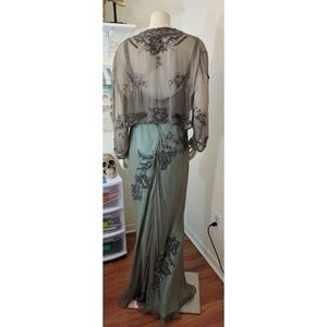 Scala Dresses & Skirts - Beaded Taupe and Turquoise Evening Gown and Jacket