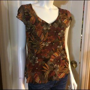 Axcess Tops - Axcess Short Sleeve Brown Floral Shirt
