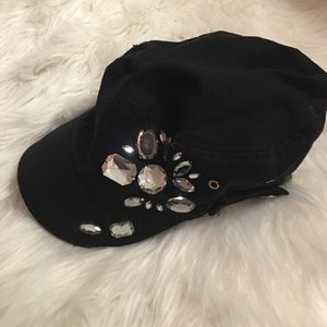 Buckle Accessories - Jeweled Black Hat