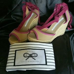 Anya Hindmarch Shoes - *NEW* Rose and Khaki Espadrille Wedge