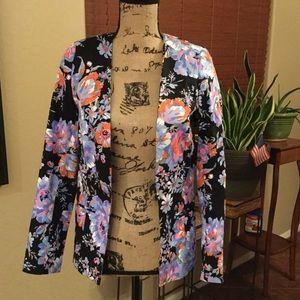 ASOS NAVY blue Floral Print Blazer Jacket