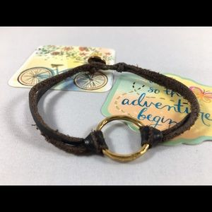 Dogeared Jewelry - Dogeared Karma bracelet Gold and Brown leather