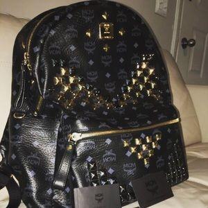 MCM Handbags - MCM STARK STUD BACKPACK BLACK/GOLD