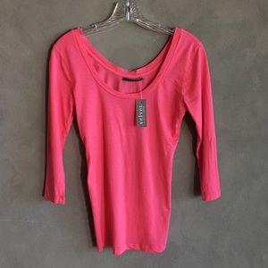 Velvet Tops - Velvet Pink 3/4 Sleeve T-Shirt with Scoop Neck