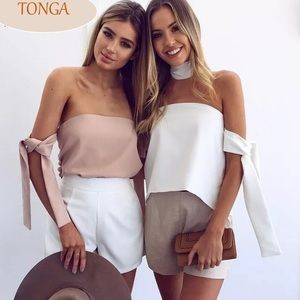 Haute Ellie Tops - 🆕 Tonga Taupe Off Shoulder Tie Sleeve Top