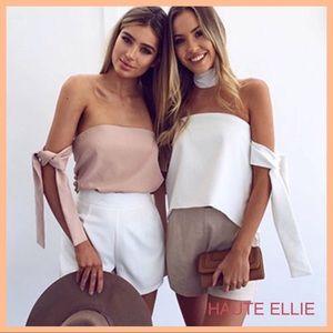 Haute Ellie Tops - Tonga Taupe Off Shoulder Tie Sleeve Top