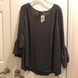 Torrid Grey blouse with bell sleeves