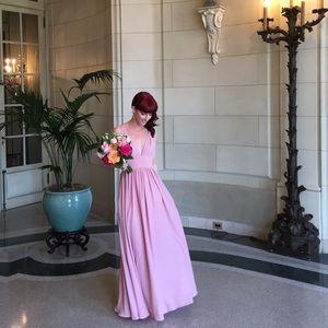 Fame & Partners Rose Pink Maxi Evening Dress