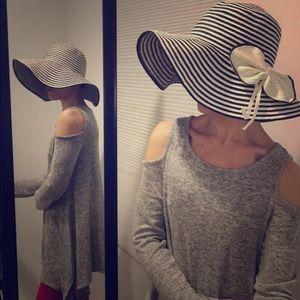  Women's Floppy Stripe Hat with Flower Bow