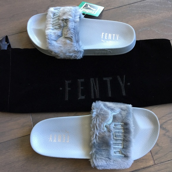 81efc5458 Puma Shoes | Rihanna Fenty Fur Slides Slippers 7 Gray | Poshmark