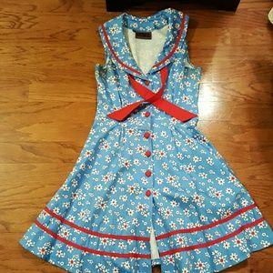 Voodoo Vixen Dresses & Skirts - Voodoo Vixen collared floral button down dress