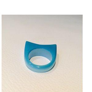 Tateossian Jewelry - TATEOSSIAN Iridescent Aqua Fiberoptic Glass Ring