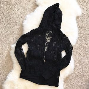 FOREVER 21 women's black lace zip up jacket w/hood