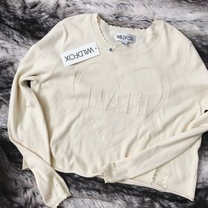 "Wildfox ""Nah"" Distressed Lighweight Sweater"
