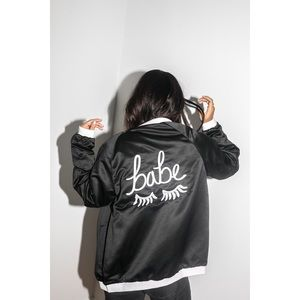 "Black + White ""Babe"" Embroidered Bomber Jacket"