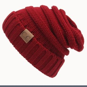 New Knit Beanie Hat Deep Wine Red