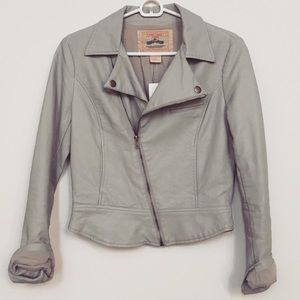 Flying Tomato Jackets & Blazers - Smooth Grey Faux Leather Jacket
